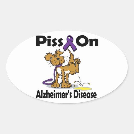 Piss en la enfermedad de Alzheimers Pegatina Ovalada