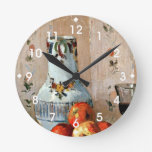 Pissarro: Still Life with Apples and Pitcher Round Wallclocks