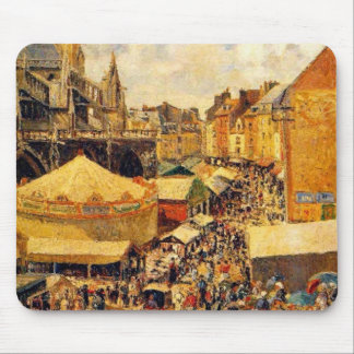Pissarro The Fair in Dieppe Sunny Morning Mouse Pads