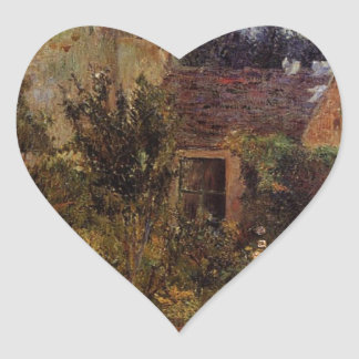 Pissarro's Garden, Pontoise by Paul Gauguin Heart Sticker
