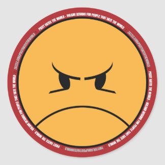 PISSY HATES THE WORLD 001a (FRONT ONLY - ON RED) Classic Round Sticker