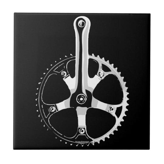 Pista Bicycle Crankset - white on black Ceramic Tile