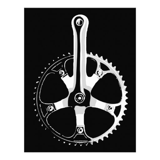 Pista Bicycle Crankset - white on black Letterhead