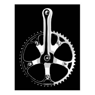 Pista Bicycle Crankset - white on black Postcard