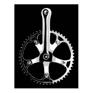 Pista Bicycle Crankset - white on black Post Cards