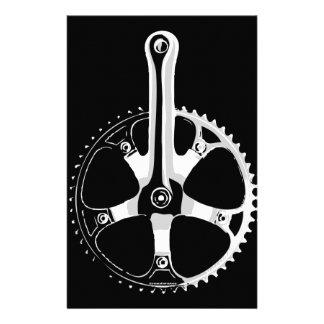 Pista Bicycle Crankset - white on black Stationery