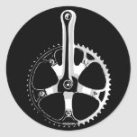 Pista Bicycle Crankset - white on black Round Stickers