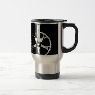 Pista Bicycle Crankset - white on black Travel Mug