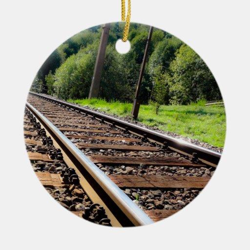 pista de ferrocarril adorno navideño redondo de cerámica