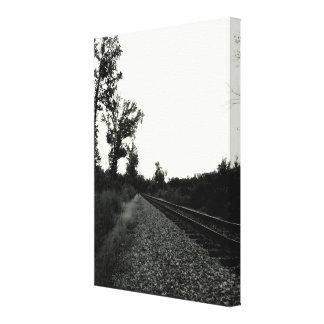 Pista de ferrocarril blanco y negro impresión en lienzo