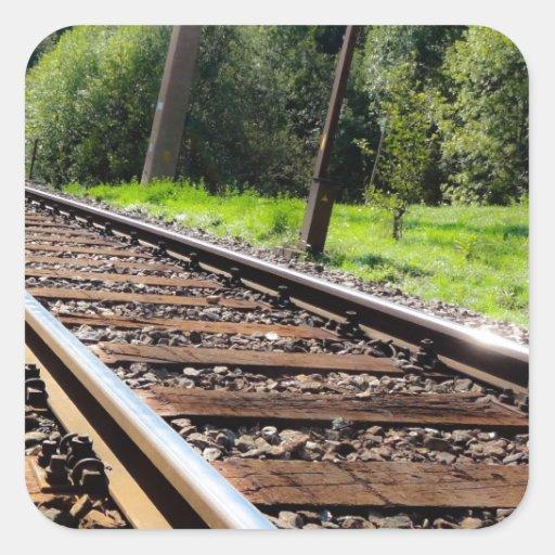 pista de ferrocarril pegatina cuadrada