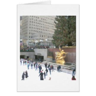 Pista de hielo de Rockefeller y tarjeta de centro