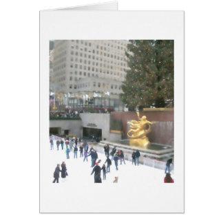 Pista de hielo de Rockefeller y tarjeta de Navidad