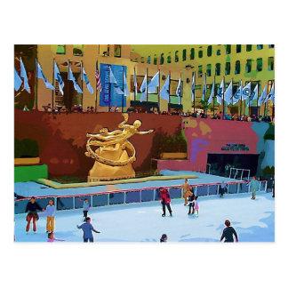 Pista de patinaje, centro de Rockefeller, New York Postales