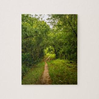 Pista de senderismo a través de las maderas puzzle