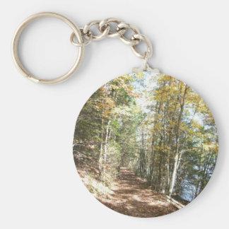 Pista de senderismo escénica llavero redondo tipo pin