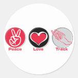 Pista del amor de la paz pegatina redonda