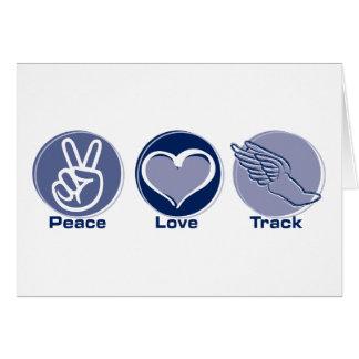 Pista del amor de la paz tarjeton