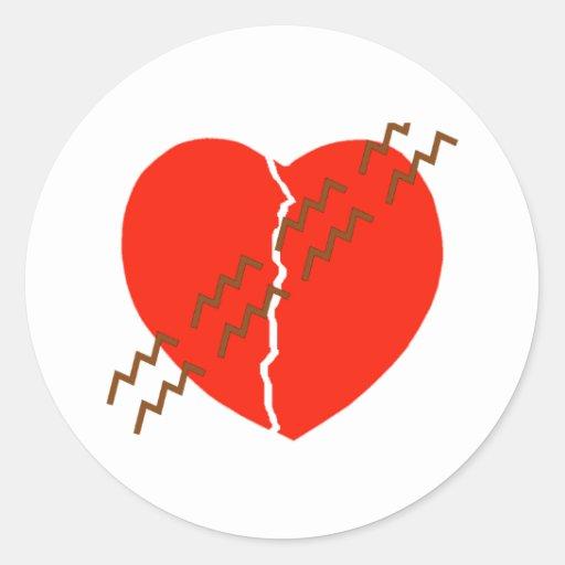 Pista del neumático de la grieta del corazón pegatina redonda