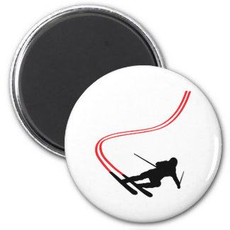 pista roja de esquí del esquí en declive imán redondo 5 cm