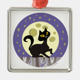 Pistache on Fence with Full Moon Metal Ornament
