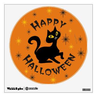 Pistache the Black Cat - Happy Halloween on Orange Wall Decal