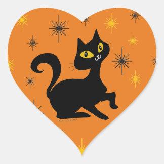 Pistache with Sparkles on Orange Heart Sticker