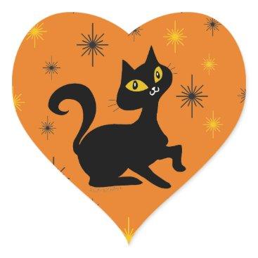 Halloween Themed Pistache with Sparkles on Orange Heart Sticker