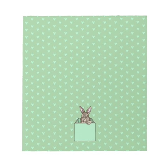 pistachio bunny-in-the-box notepad