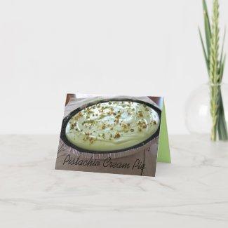 Pistachio Cream Pie Recipe on a Note Card