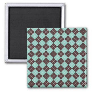 Pistachio Green and Chocolate Brown Argyle Pattern 2 Inch Square Magnet