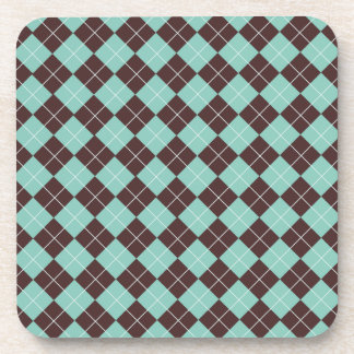 Pistachio Green and Chocolate Brown Argyle Pattern Coasters