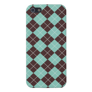 Pistachio Green and Chocolate Brown Argyle Pattern Cover For iPhone SE/5/5s