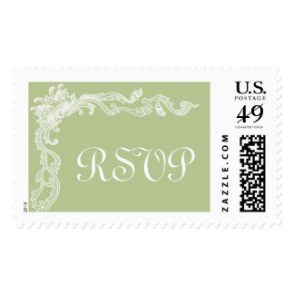 Pistachio Green Floral Large RSVP Custom Postage