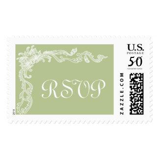 Pistachio Green Floral Large RSVP Custom Postage