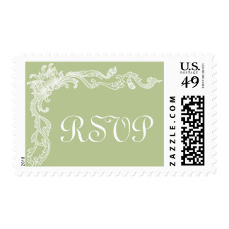 Pistachio Green Floral Medium RSVP Custom Postage