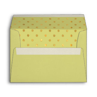 Pistachio Green Gold Foil Polkadots Lined Envelope