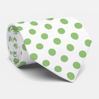 Pistachio Green Polka Dots Circles Neck Tie