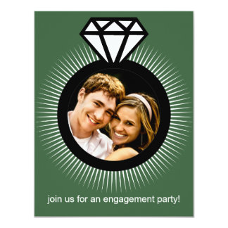 Pistachio Green The Ring Photo Engagement Party 4.25x5.5 Paper Invitation Card