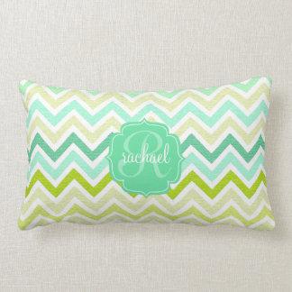 Pistachio Mint Chevron Watercolor Personalized Lumbar Pillow