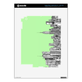 Pistachio New York skyline Skins For iPad 3