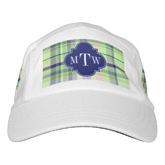 Pistachio Pink Navy Wht Preppy Madras Monogram Headsweats Hat