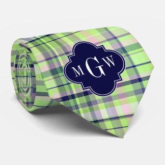 Pistachio Pink Navy Wht Preppy Madras Monogram Neck Tie