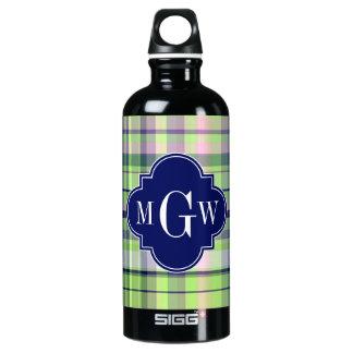 Pistachio Pink Navy Wht Preppy Madras Monogram SIGG Traveler 0.6L Water Bottle