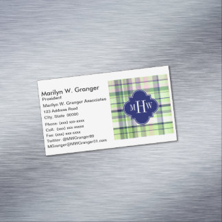 Pistachio Pink Navy Wht Preppy Madras Monogram Magnetic Business Cards (Pack Of 25)
