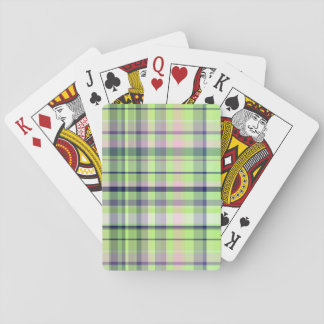 Pistachio Pink Navy Wht Preppy Madras Playing Cards
