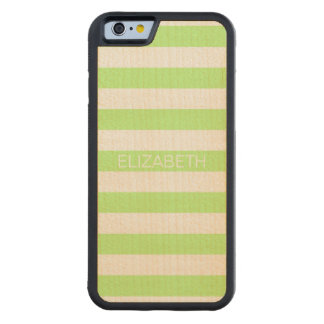 Pistachio White Preppy Horiz Stripe Name Monogram Carved® Maple iPhone 6 Bumper