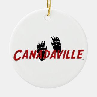Pistas de Canadaville Adorno Navideño Redondo De Cerámica