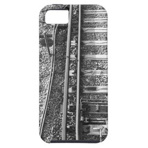 Pistas de ferrocarril, cuadro blanco y negro iPhone 5 fundas