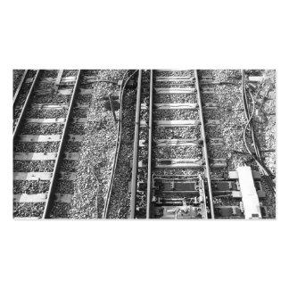 Pistas de ferrocarril, cuadro blanco y negro plantilla de tarjeta de visita